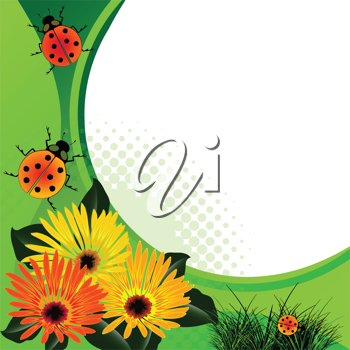 ladybugs over abstract floral background, vector art illustration