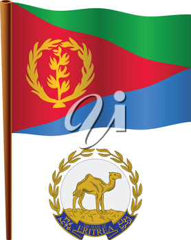 eritrea wavy flag and coat of arms against white background, vector art illustration, image contains transparency