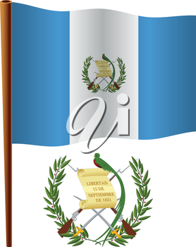 guatemala wavy flag and coat of arms against white background, vector art illustration, image contains transparency