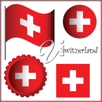 switzerland graphic set against white background, vector art illustration; image contains transparency