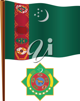 turkmenistan wavy flag and coat of arm against white background, vector art illustration, image contains transparency