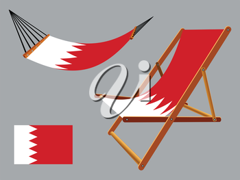 bahrain hammock and deck chair set against gray background, abstract vector art illustration