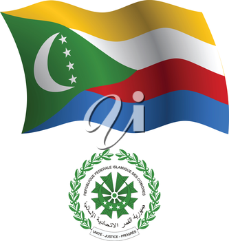 comoros wavy flag and coat of arms against white background, vector art illustration, image contains transparency