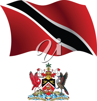 trinidad and tobago wavy flag and coat of arm against white background, vector art illustration, image contains transparency