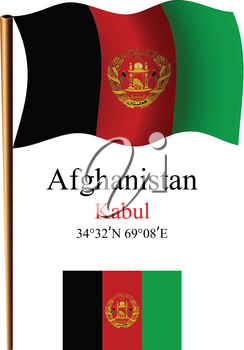 afghanistan wavy flag and coordinates against white background, vector art illustration, image contains transparency