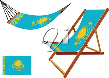 kazakhstan hammock and deck chair set against white background, abstract vector art illustration