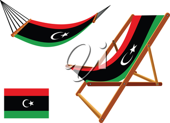 libya hammock and deck chair set against white background, abstract vector art illustration