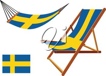 sweden hammock and deck chair set against white background, abstract vector art illustration