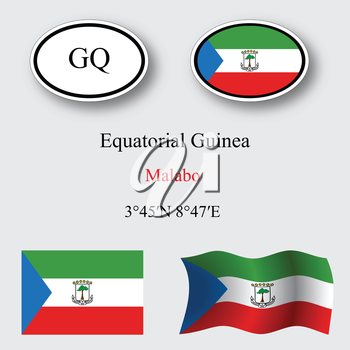 equatorial guinea icons set against gray background, abstract vector art illustration, image contains transparency
