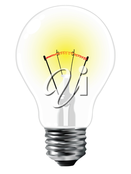 realistic light bulb over white background, abstract vector art illustration, image contains gradient mesh