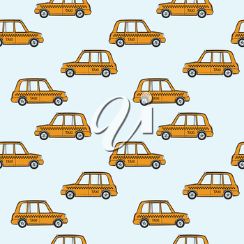 taxi cars pattern, abstract seamless texture, vector art illustration