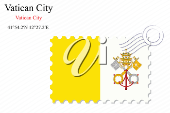 vatican city stamp design over stripy background, abstract vector art illustration, image contains transparency