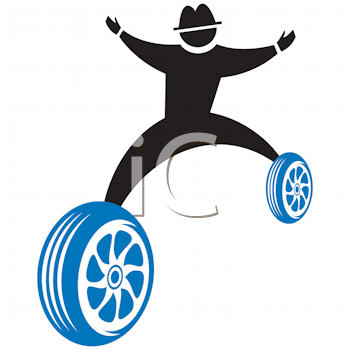 Royalty Free Clipart Image of a Silhouette on Wheels