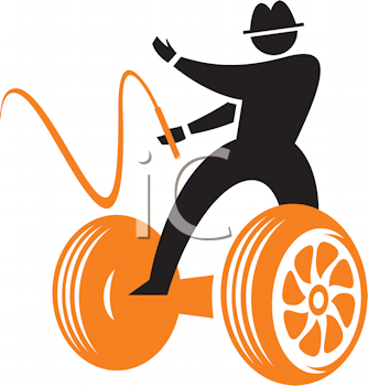 Royalty Free Clipart Image of a Silhouette on a Chariot