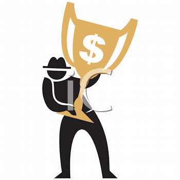 Royalty Free Clipart Image of a Man With a Gold Cup