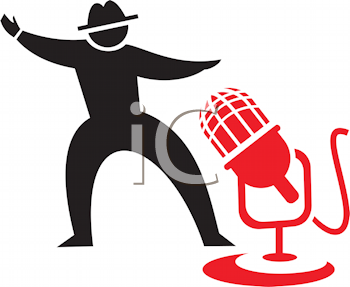 Royalty Free Clipart Image of a Man and a Microphone