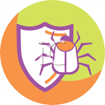 Royalty Free Clipart Image of a Bug and a Shield