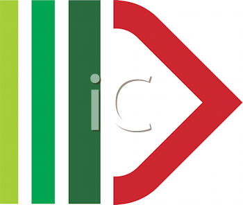 Royalty Free Clipart Image of a Green and Red Design