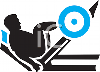 Royalty Free Clipart Image of a Guy Doing Leg Presses