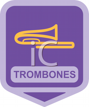 Royalty Free Clipart Image of a Trombones Icon