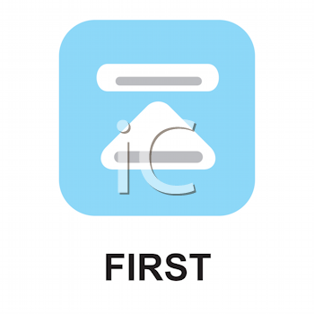 Royalty Free Clipart Image of a First Button