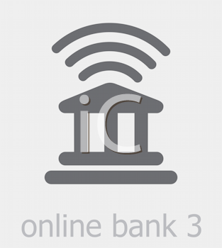 Royalty Free Clipart Image of an Online Bank Icon