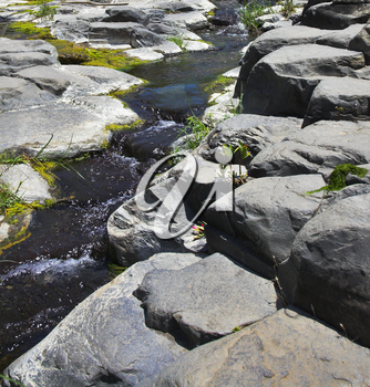 Granite channel of a drying up mountain stream in mountains of Israel