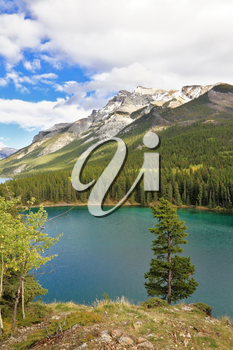 Early autumn in the Rocky Mountains of Canada.  Brilliant turquoise Bow Lake and the picturesque mountain