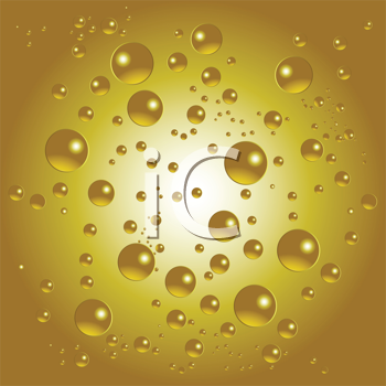 Royalty Free Clipart Image of a Gold Background With Bubbles