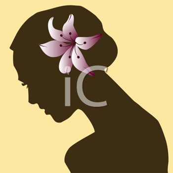 Royalty Free Clipart Image of a Beautiful Woman in Silhouette With a Red Flower in Her Hair