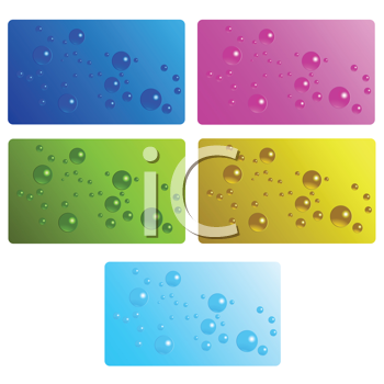 Royalty Free Clipart Image of a Collection of Cards With Bubbles