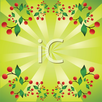 Royalty Free Clipart Image of a Green Backgroudn With a Cherry Frame