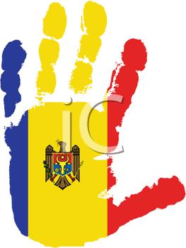 Royalty Free Clipart Image of a Flag of Moldova on a Palm of a Hand