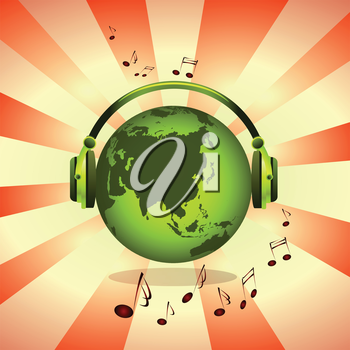 Royalty Free Clipart Image of a Green Earth Listening To Music Under Headphones