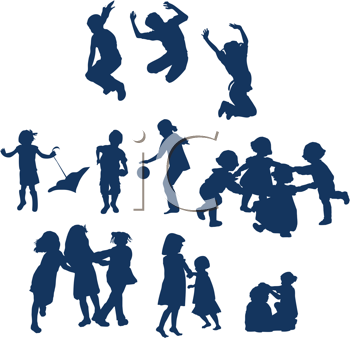 Royalty Free Clipart Image of Children at Play