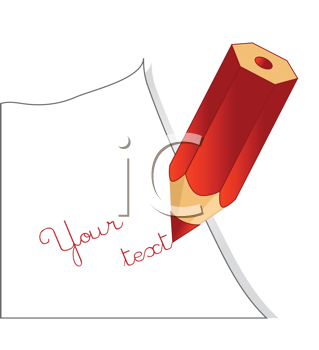 Royalty Free Clipart Image of a Red Crayon Writing Your Text on White Paper