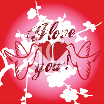 Royalty Free Clipart Image of a Valentine Greeting With Lovebirds Holding Hearts
