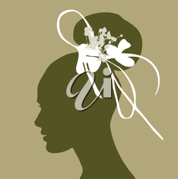 woman silhouette with wedding hairstyle on pastel