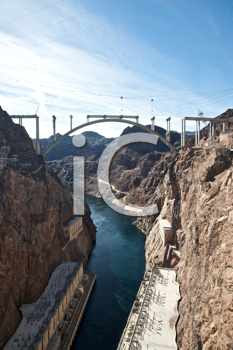 Royalty Free Photo of the Hoover Dam and the Hoover Dam Bypass Bridge During Construction
