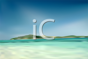 Royalty Free Clipart Image of a Beach and Island