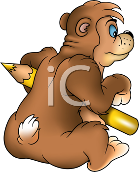Royalty Free Clipart Image of a Bear With a Pencil Crayon