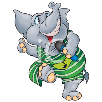 Royalty Free Clipart Image of an Elephant With a Microphone