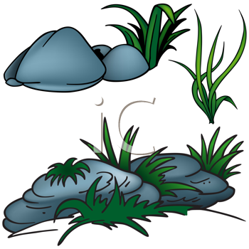 Royalty Free Clipart Image of Grass and Stones