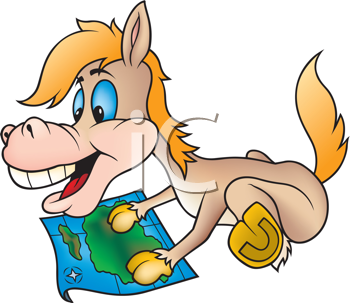 Royalty Free Clipart Image of a Horse and a Map