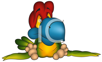 Royalty Free Clipart Image of a Colourful Parrot