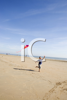 Royalty Free Clipart Image of a Young Child Running on the Beach