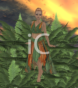 Royalty Free Clipart Image of a Fairy in a Forest