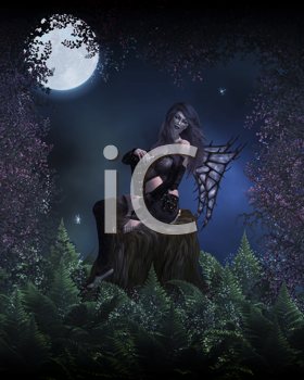 Royalty Free Clipart Image of a Bad Fairy Smoking in a Forest