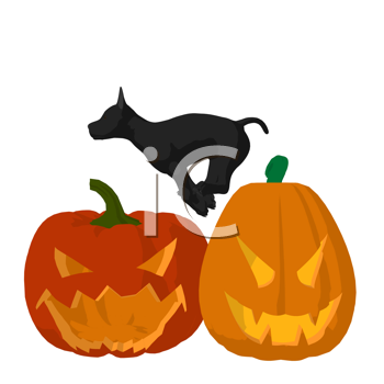 Royalty Free Clipart Image of a Dog and Jack-o-Lanterns