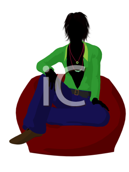 Royalty Free Clipart Image of a 70s Man Sitting in a Beanbag Chair